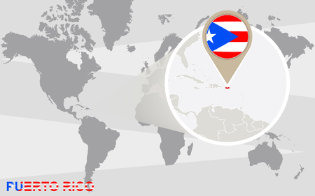 magnified: World map with magnified Puerto Rico. Puerto Rico flag and map.