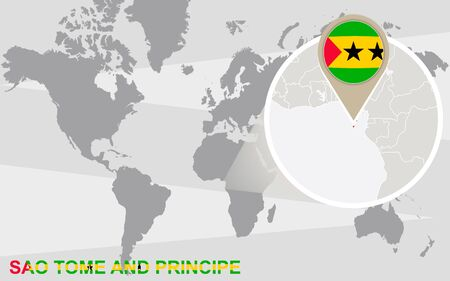 World map with magnified Sao Tome and Principe. Sao Tome and Principe flag and map.