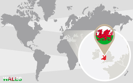 World map with magnified Wales. Wales flag and map.