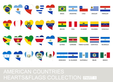 American countries set, hearts and flags, 2  version, part 1