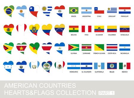 establecen los países de América, corazones y banderas, 2 versión, parte 1