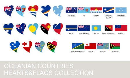 oceania: Oceania countries set, hearts and flags, 2  version Illustration