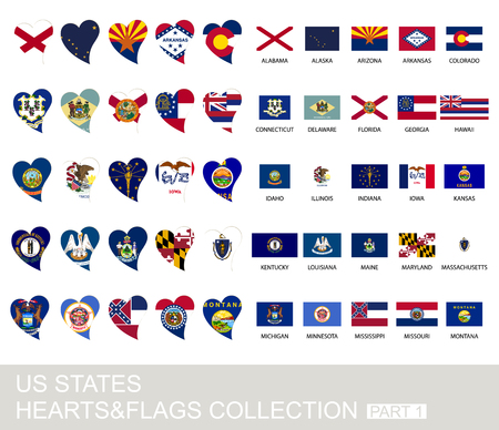 district of columbia: US states set, hearts and flags, 2  version, part 1