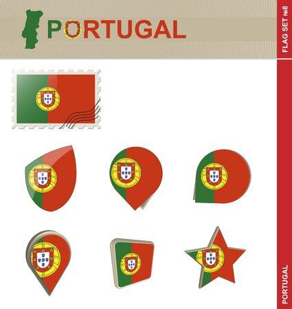 euro area: Portugal Flag Set, Flag Set #8. Vector.