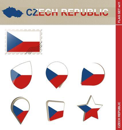 czech republic flag: Czech Republic Flag Set, Flag Set #11. Vector.