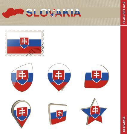 slovakia flag: Slovakia Flag Set, Flag Set #12. Vector. Illustration