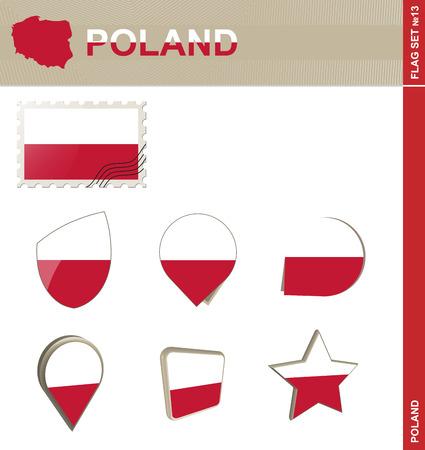 flag banner: Poland Flag Set, Flag Set #13. Vector. Illustration