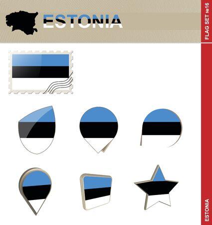 euro area: Estonia Flag Set, Flag Set #16. Vector.