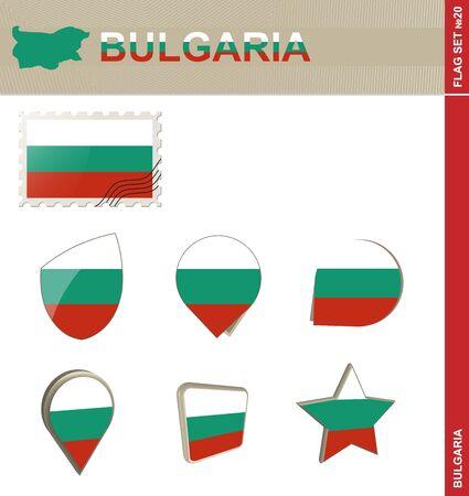 Bulgaria Flag Set, Flag Set #20. Vector.