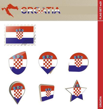 bandera de croacia: Conjunto de la bandera de Croacia, Bandera Set # 29. Vector. Vectores