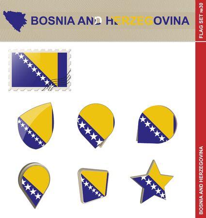 euro area: Bosnia and Herzegovina Flag Set, Flag Set #30. Vector. Illustration