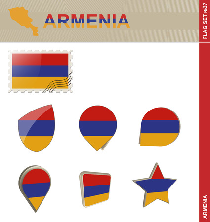 dram: Armenia Flag Set, Flag Set #37. Vector. Illustration