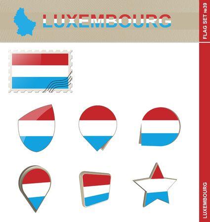euro area: Luxembourg Flag Set, Flag Set #39. Vector.