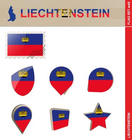 liechtenstein: Liechtenstein Flag Set, Flag Set #40. Vector. Illustration