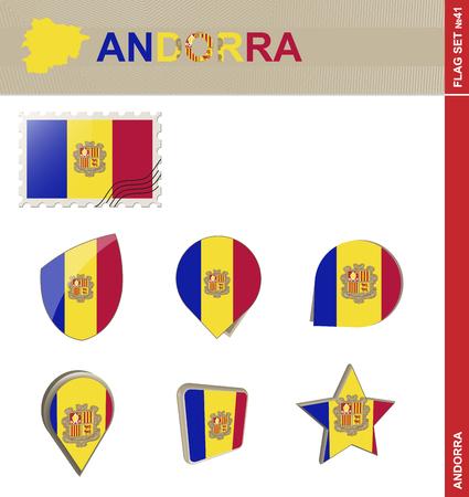 euro area: Andorra Flag Set, Flag Set #41. Vector.
