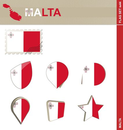 malta: Malta Flag Set, Flag Set #44. Vector. Illustration