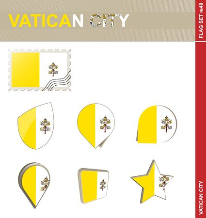 vatican city: Vatican City Flag Set, Flag Set #48. Vector. Illustration