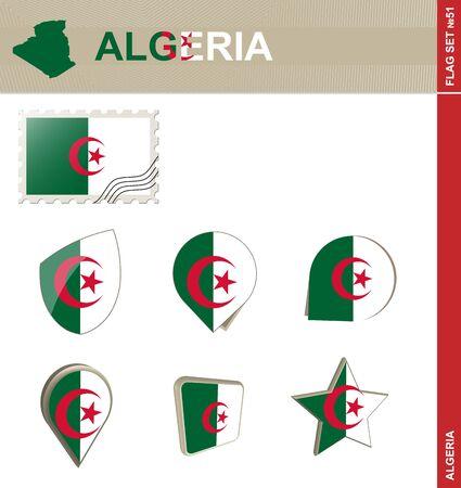 51: Algeria Flag Set, Flag Set #51. Vector.