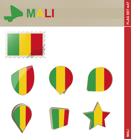 57: Mali Flag Set, Flag Set #57. Vector.