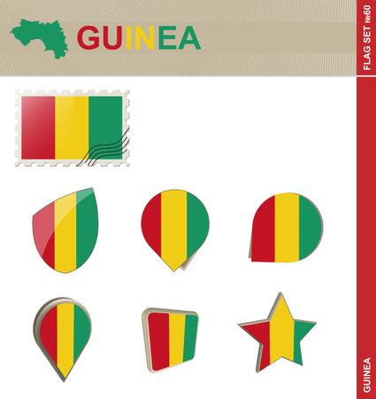 Guinea Flag Set, Flag Set #60. Vector.