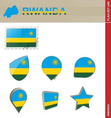 kigali: Rwanda Flag Set, Flag Set #80. Vector.