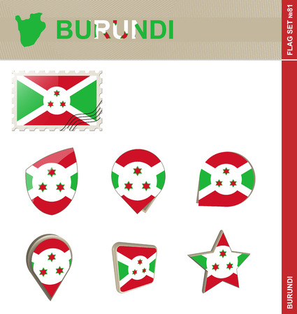 the great lakes: Burundi Flag Set, Flag Set #81. Vector.