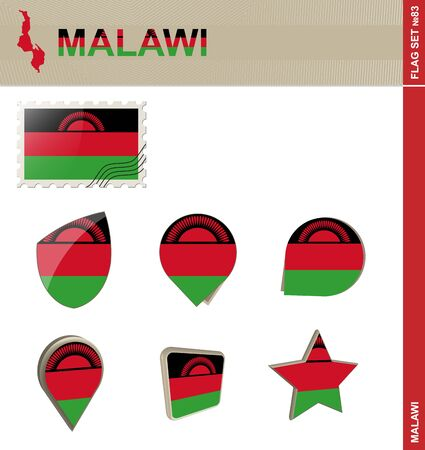 malawi flag: Malawi Flag Set, Flag Set #83. Vector. Illustration