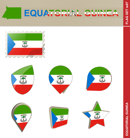 equatorial guinea: Equatorial Guinea Flag Set, Flag Set #97. Vector.