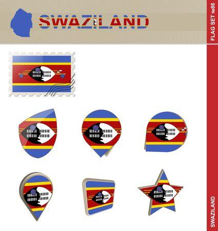 swaziland: Swaziland Flag Set, Flag Set #86. Vector.