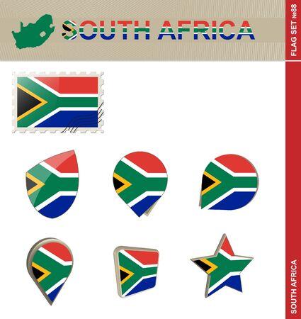 south africa flag: South Africa Flag Set, Flag Set #88. Vector.
