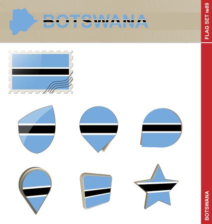 landlocked country: Botswana Flag Set, Flag Set #89. Vector.