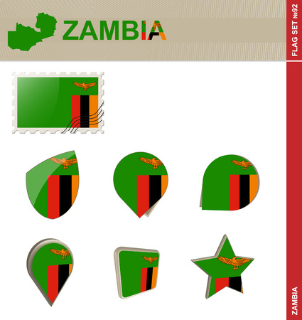 zambia flag: Zambia Flag Set, Flag Set #92. Vector. Illustration