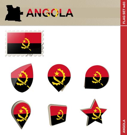 angola: Angola Flag Set, Flag Set #93. Vector.