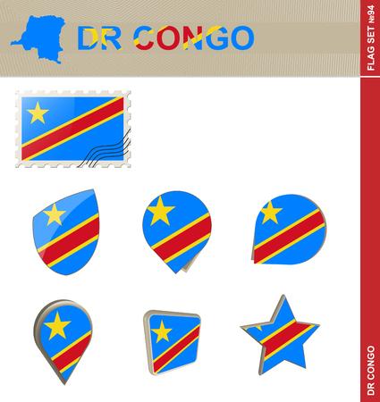 dr: Democratic Republic of the Congo Flag Set, Flag Set #94. Vector.