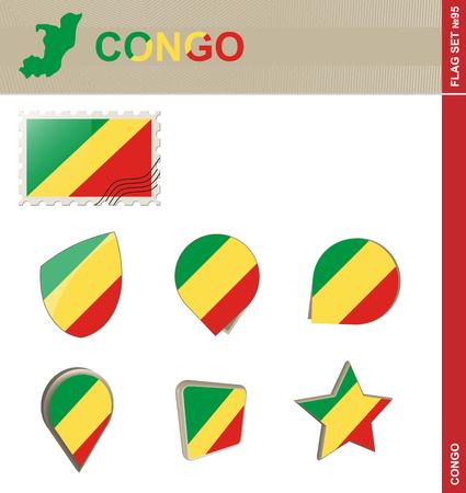 95: Congo Flag Set, Flag Set #95. Vector.