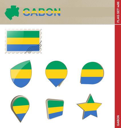 gabon: Gabon Flag Set, Flag Set #96. Vector.