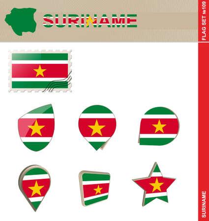 suriname: Suriname Flag Set, Flag Set #109. Vector. Illustration
