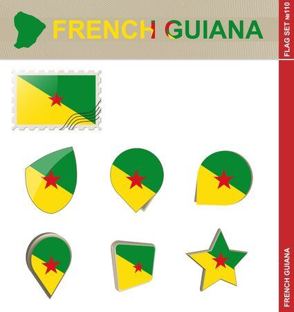french flag: French Guiana Flag Set, Flag Set #110. Vector. Illustration
