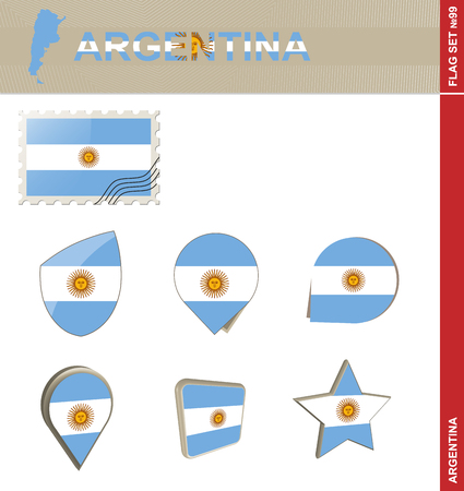 99: Argentina Flag Set, Flag Set #99. Vector.