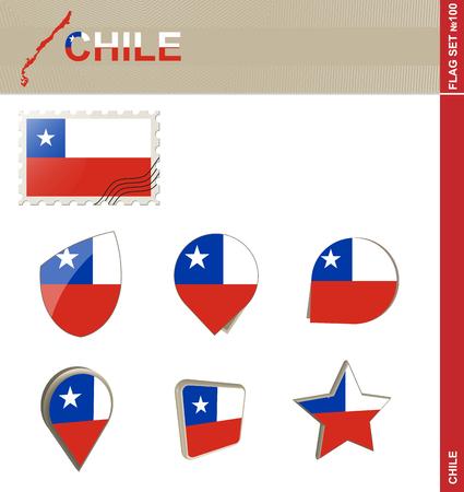 bandera de chile: Conjunto de la bandera de Chile, Bandera Set # 100. Vector.