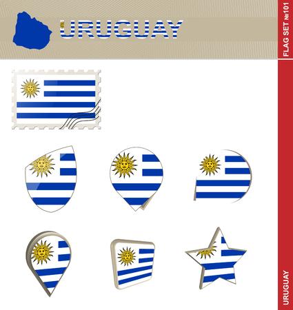 bandera uruguay: Conjunto de la bandera de Uruguay, Bandera Set # 101. Vector.
