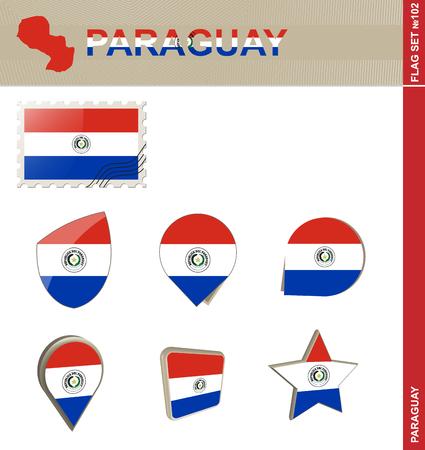bandera de paraguay: Conjunto de la bandera de Paraguay, Bandera Set # 102. Vector.