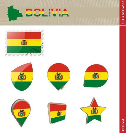 bandera de bolivia: Conjunto de la bandera de Bolivia, Bandera Set # 103. Vector. Vectores