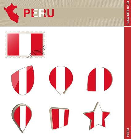 bandera peru: Conjunto de la bandera de Per�, Bandera Set # 104. Vector.