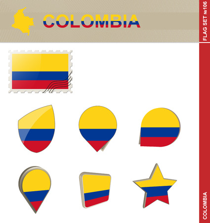 colombia flag: Colombia Flag Set, Flag Set #106. Vector.