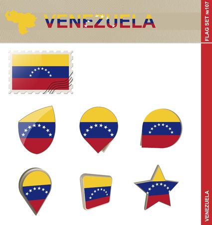 bandera de venezuela: Conjunto de la bandera de Venezuela, Bandera Set # 107. Vector.
