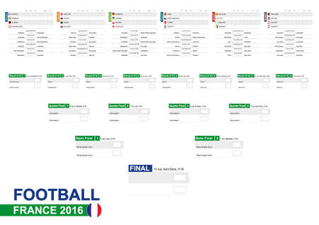Football 2016, Euro 2016 Match Schedule, all matches, time and place. Soccer 2016. Country Flags. Size A2.