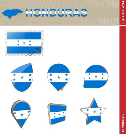 bandera de honduras: Conjunto de la bandera de Honduras, Bandera Set # 114. Vector.