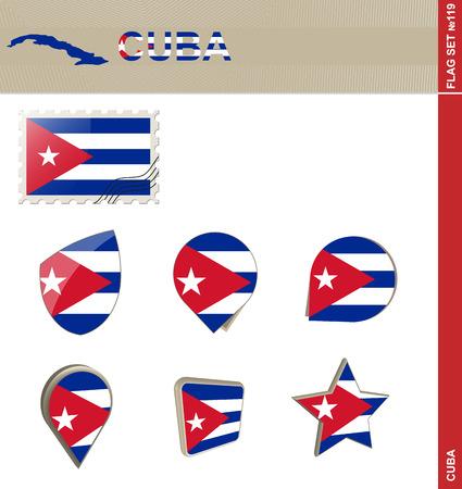 bandera cuba: Conjunto de la bandera de Cuba, Bandera Set # 119. Vector.