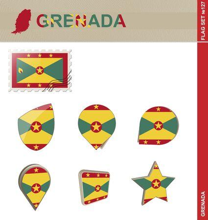 grenada: Grenada Flag Set, Flag Set #127. Vector.